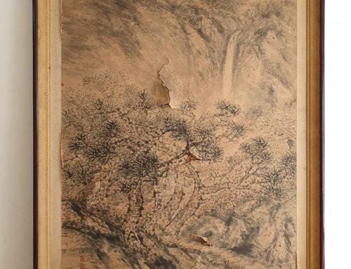 한국화(종이) 얼룩, 찢어짐 보존처리